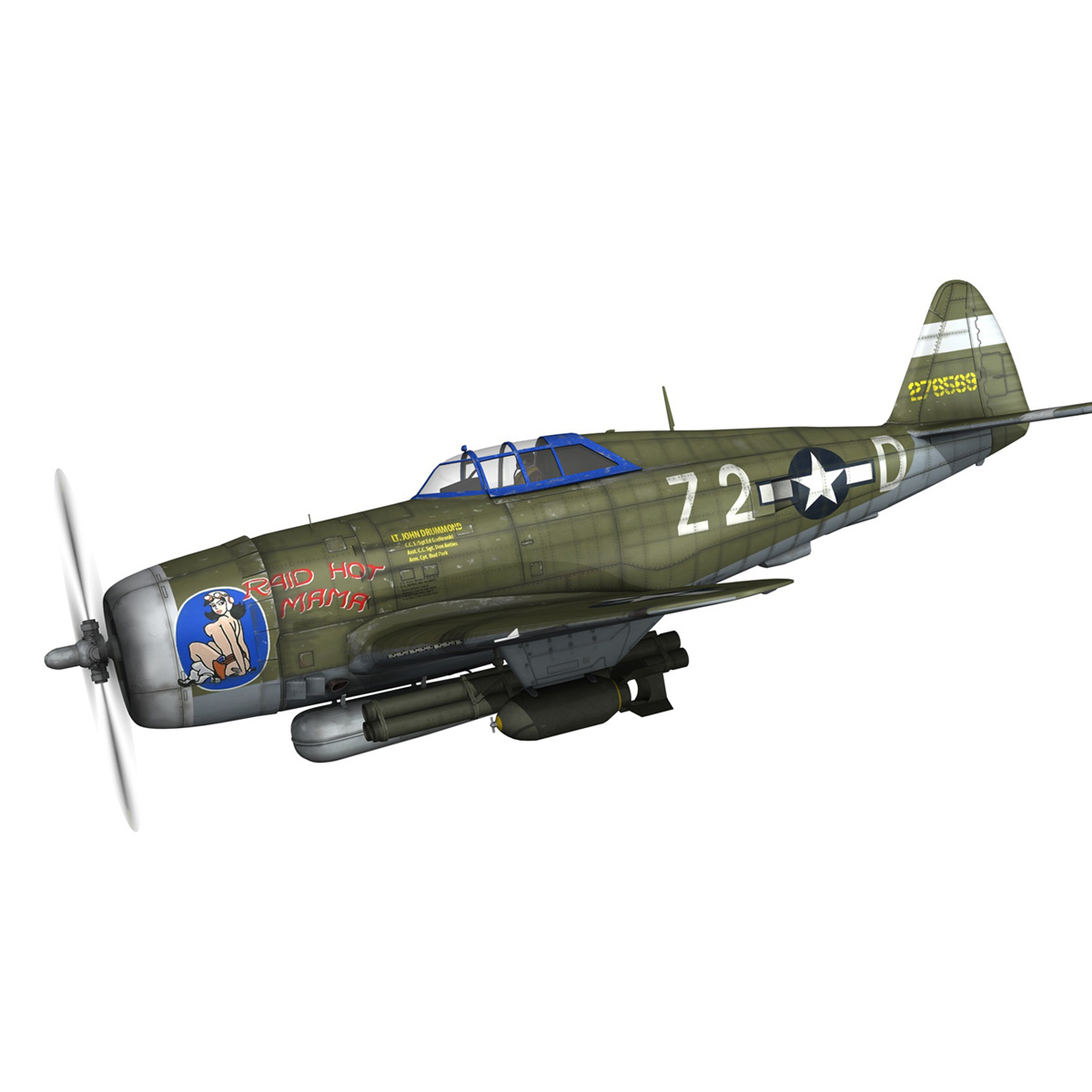 republic p-47d thunderbolt – raid hot mama 3d model 3ds c4d lwo obj 264312