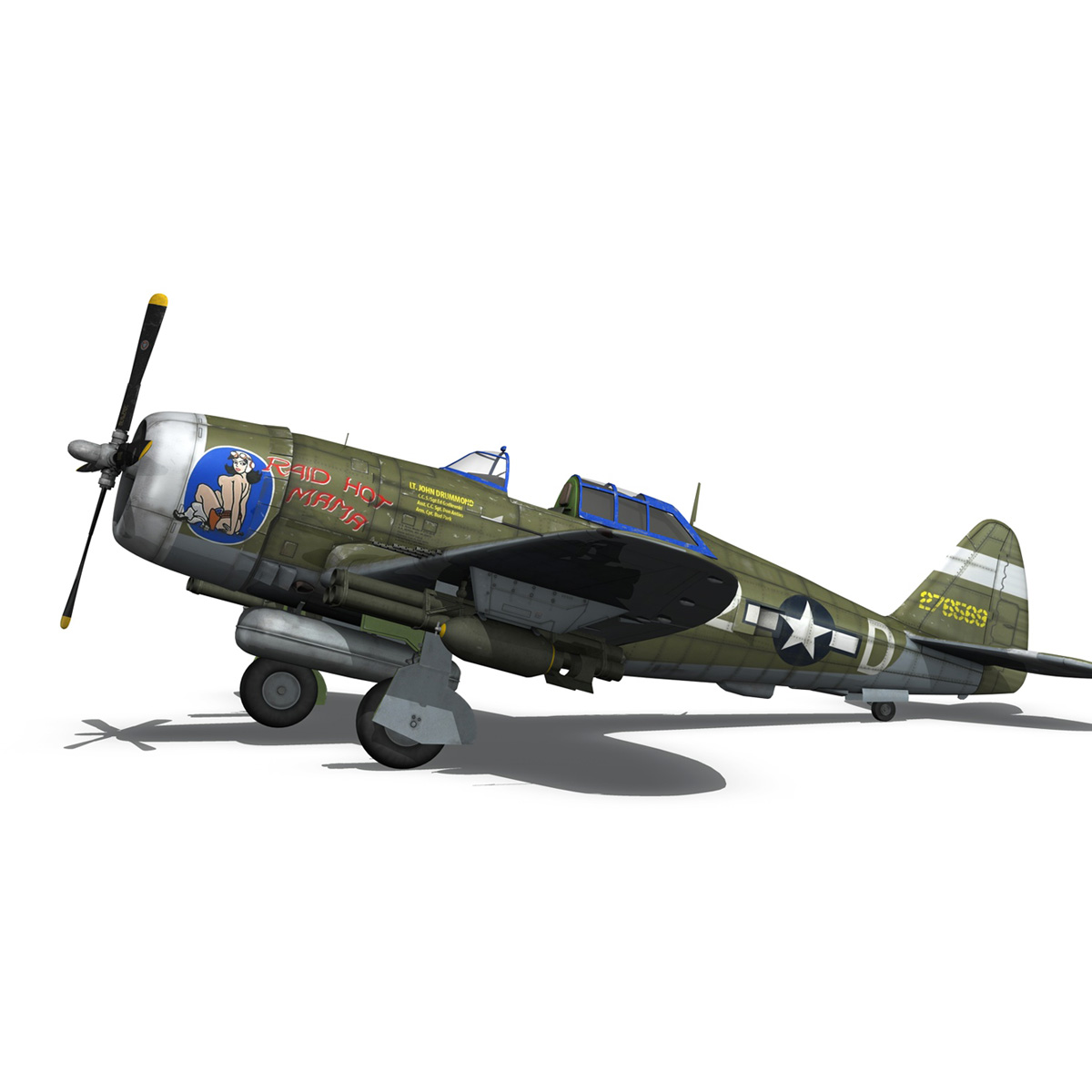 republic p-47d thunderbolt – raid hot mama 3d model 3ds c4d lwo obj 264319