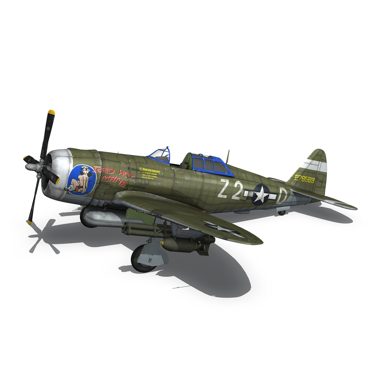 republic p-47d thunderbolt – raid hot mama 3d model 3ds c4d lwo obj 264320