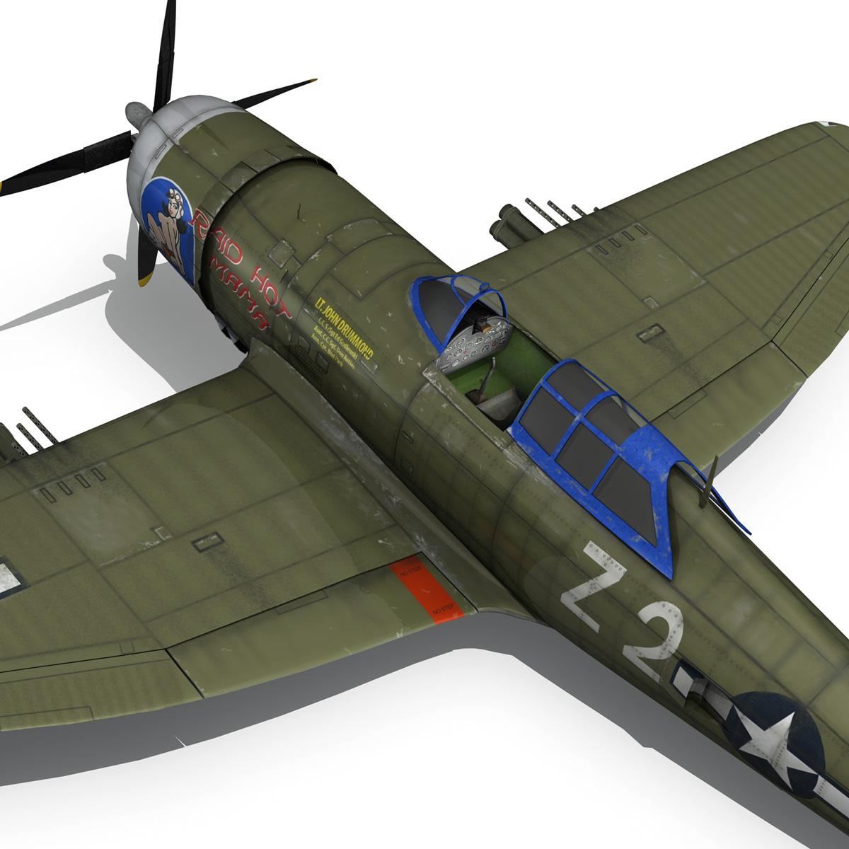republic p-47d thunderbolt – raid hot mama 3d model 3ds c4d lwo obj 264326