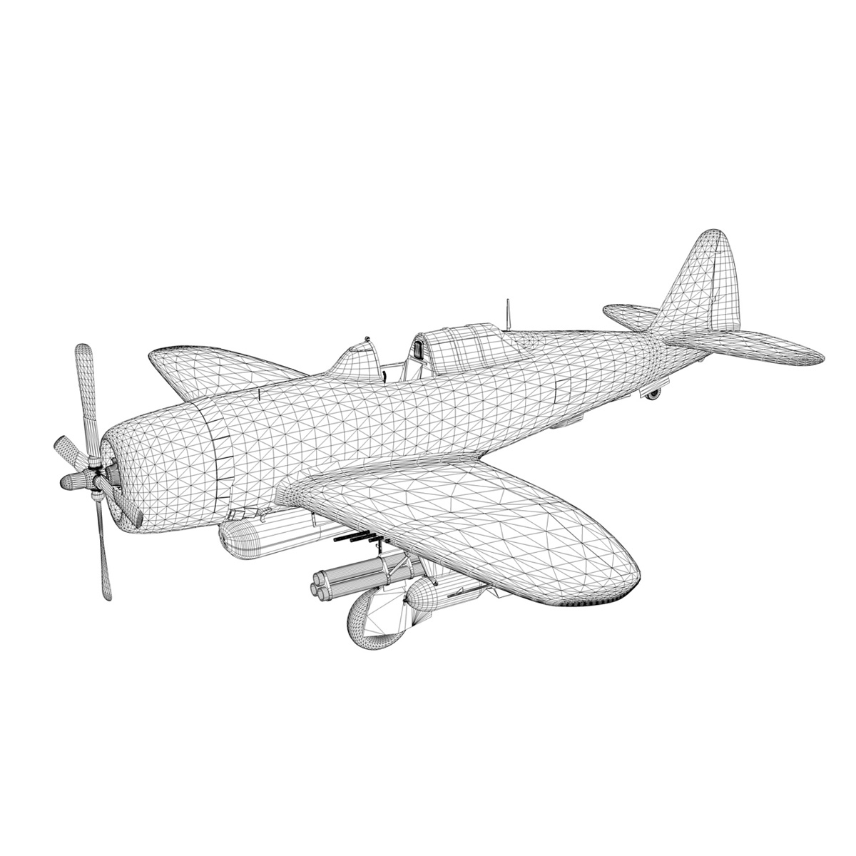 republic p-47d thunderbolt – raid hot mama 3d model 3ds c4d lwo obj 264328