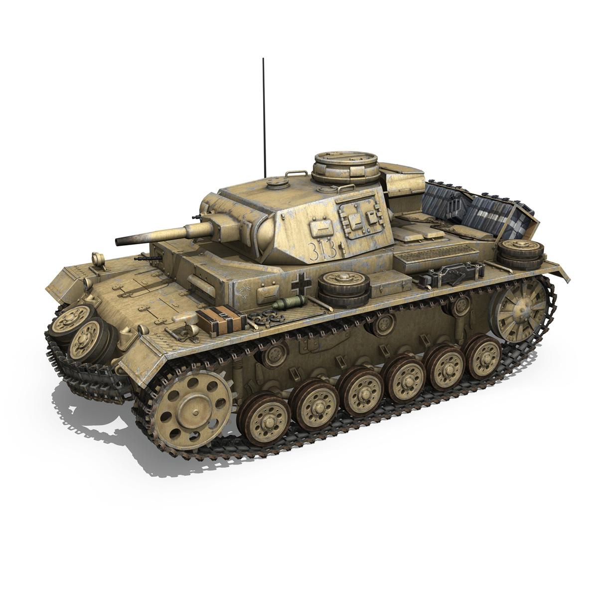panzer iii – pzkpfw iii – ausf.g – dak – 313 3d model 3ds c4d lwo obj 264428