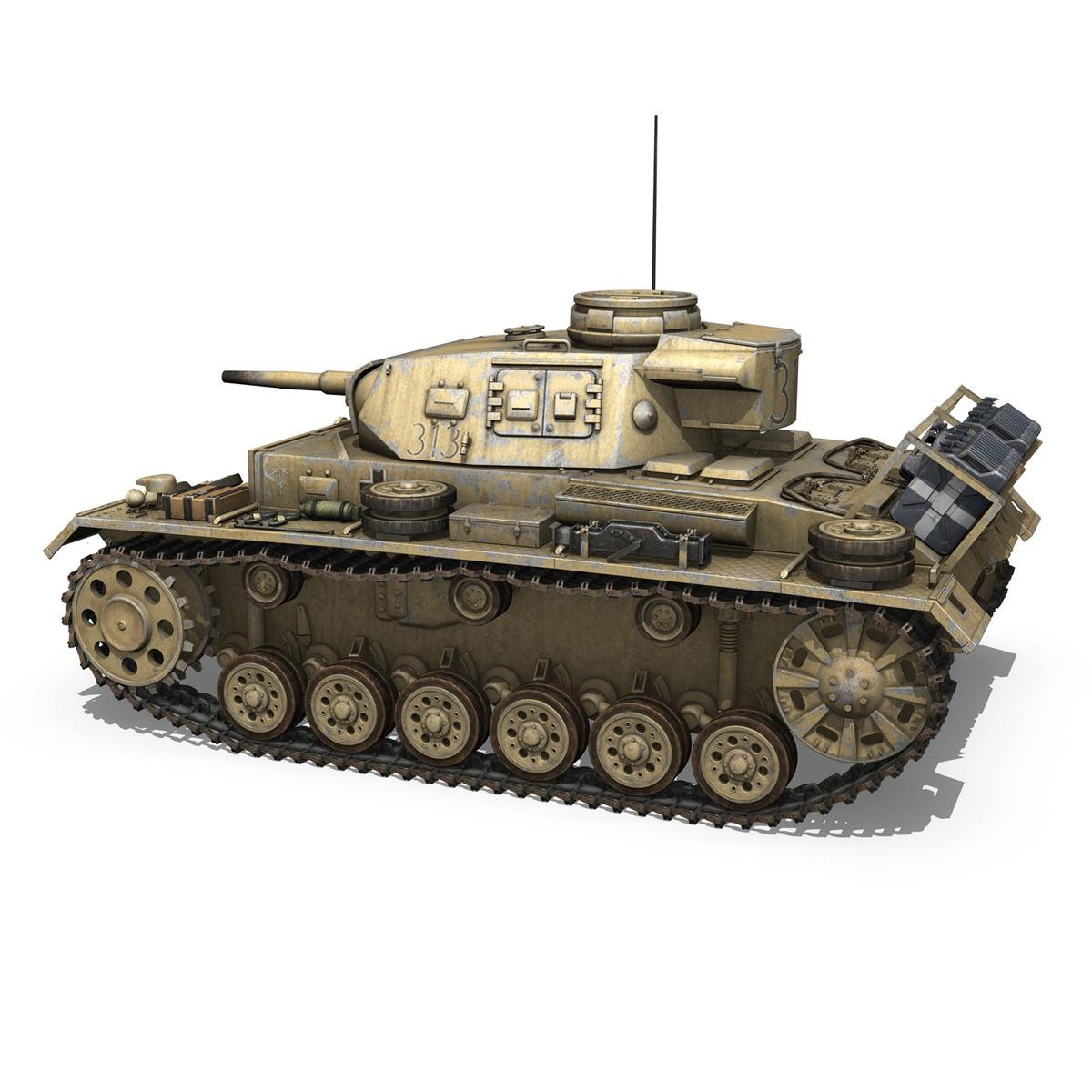 panzer iii – pzkpfw iii – ausf.g – dak – 313 3d model 3ds c4d lwo obj 264430