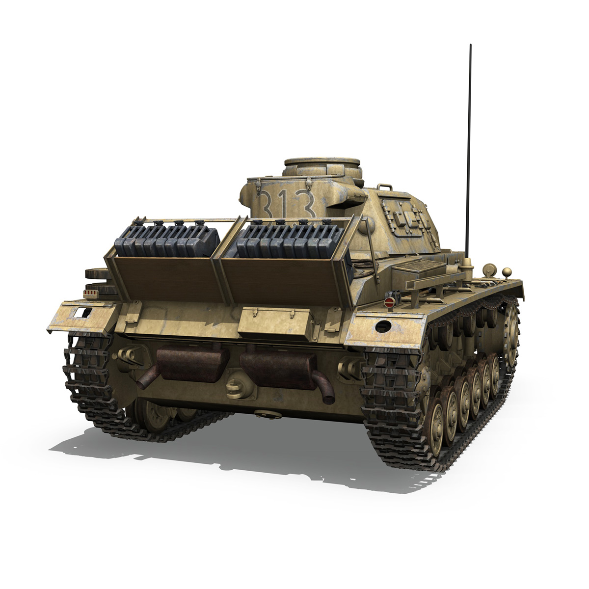 panzer iii – pzkpfw iii – ausf.g – dak – 313 3d model 3ds c4d lwo obj 264431
