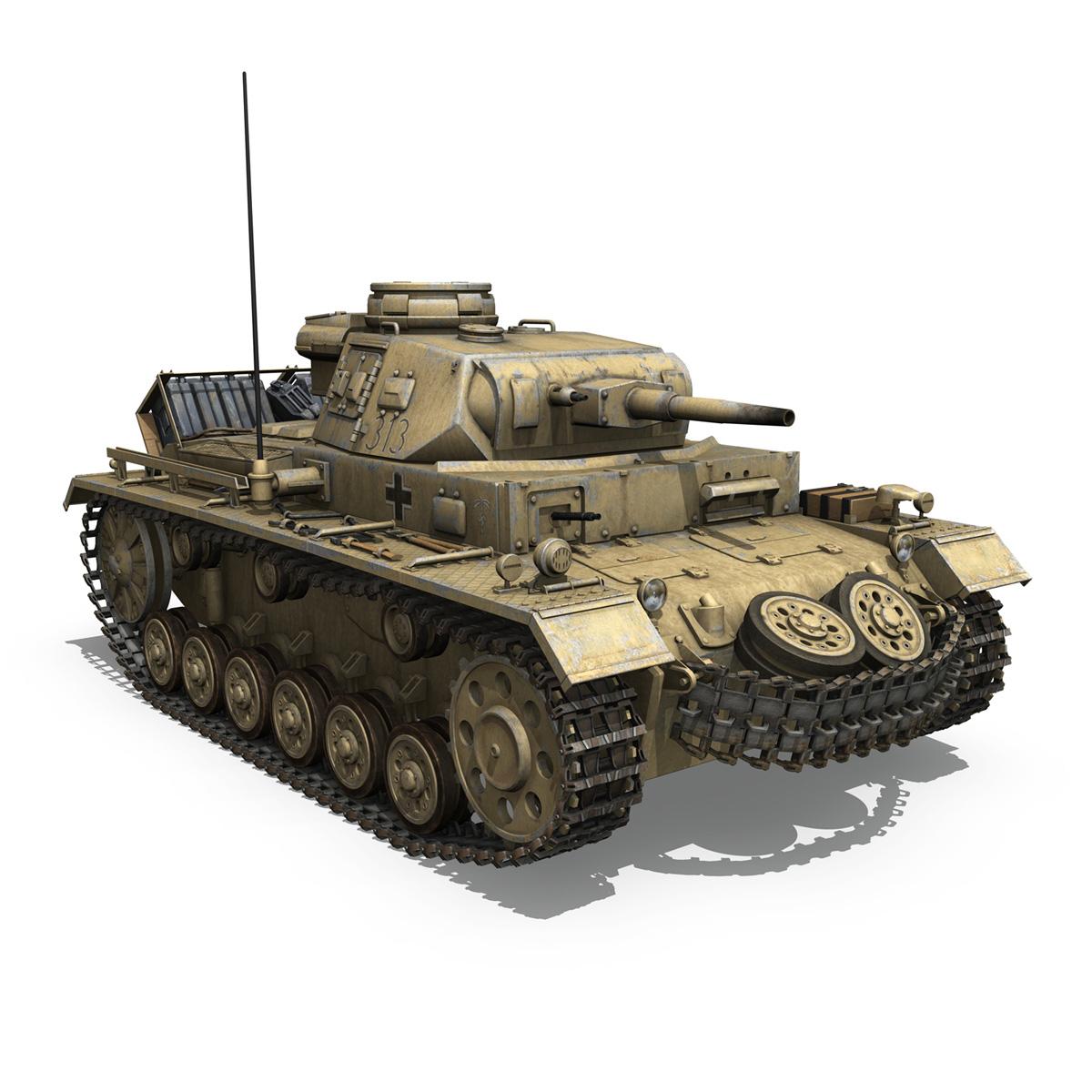 panzer iii – pzkpfw iii – ausf.g – dak – 313 3d model 3ds c4d lwo obj 264434