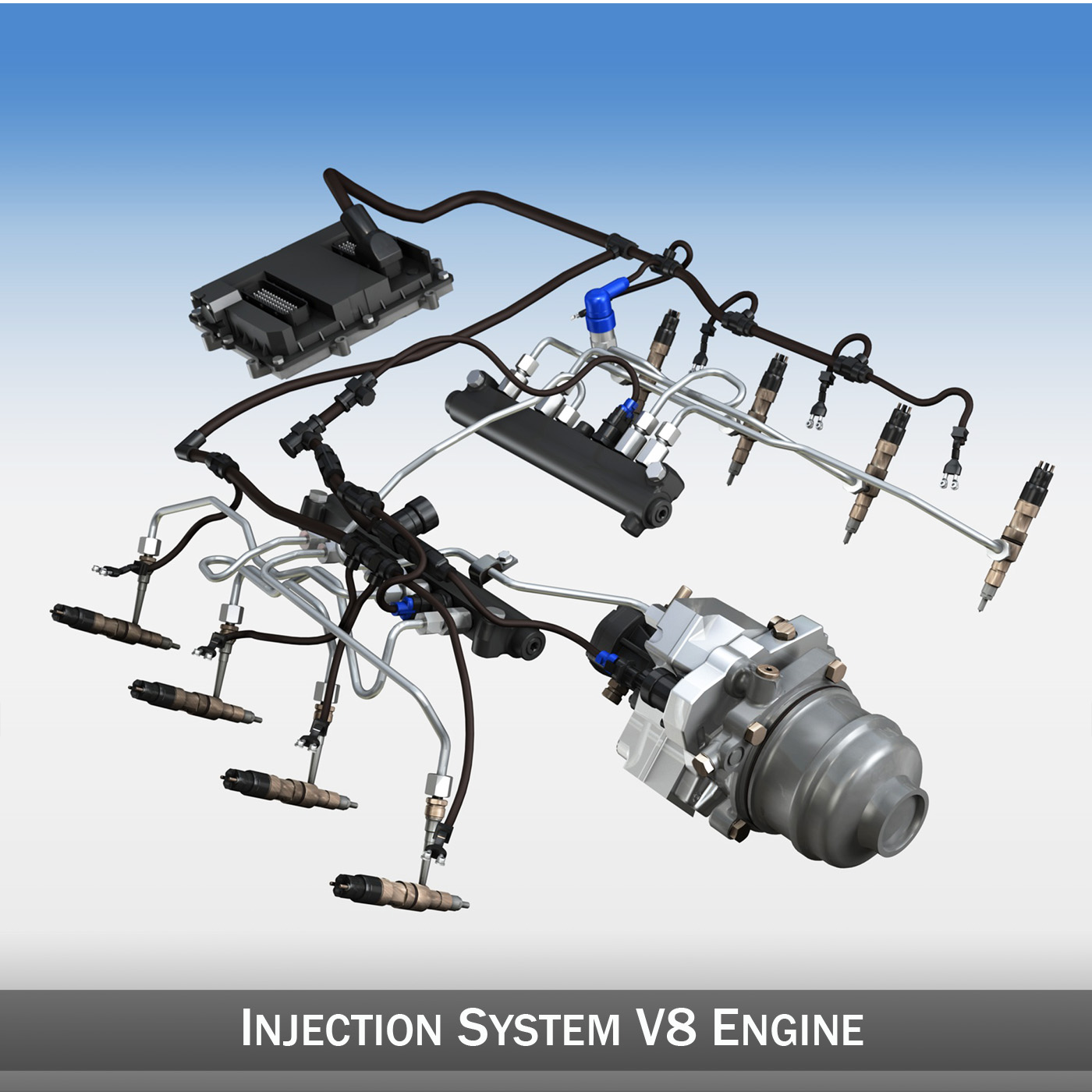 injection system of a v8 engine 3d model 3ds c4d lwo obj 264470