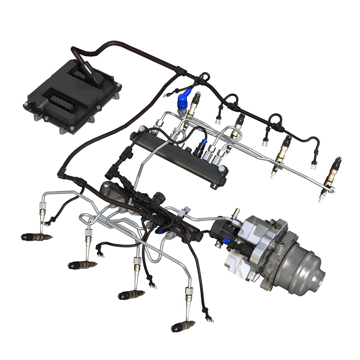injection system of a v8 engine 3d model 3ds c4d lwo obj 264471