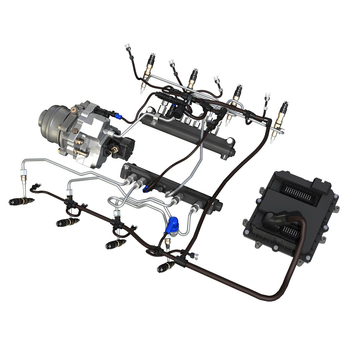 injection system of a v8 engine 3d model 3ds c4d lwo obj 264472
