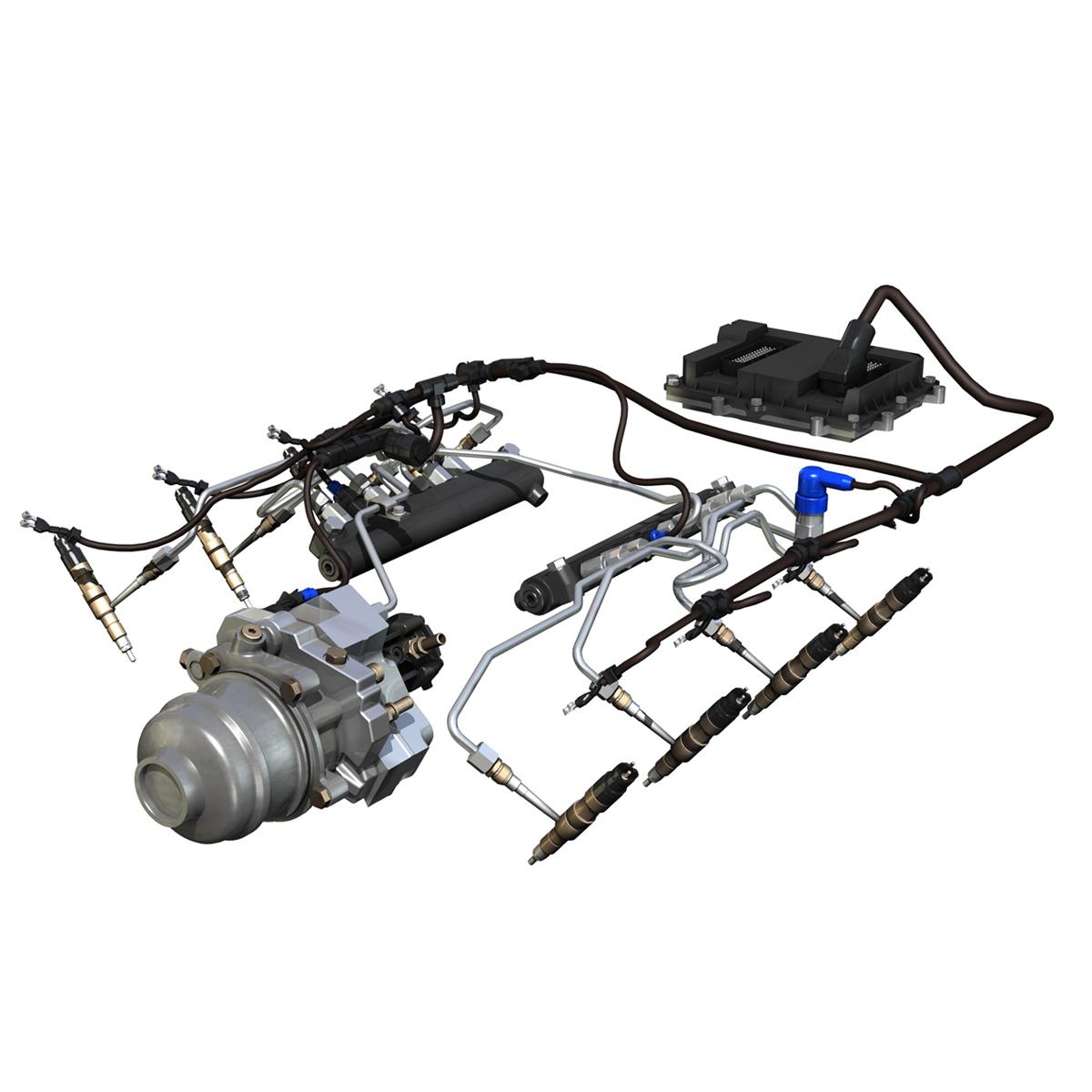injection system of a v8 engine 3d model 3ds c4d lwo obj 264473