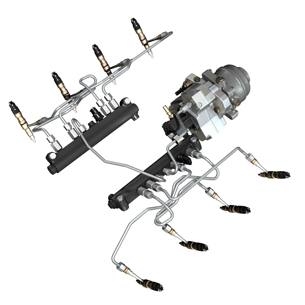 injection system of a v8 engine 3d model 3ds c4d lwo obj 264475
