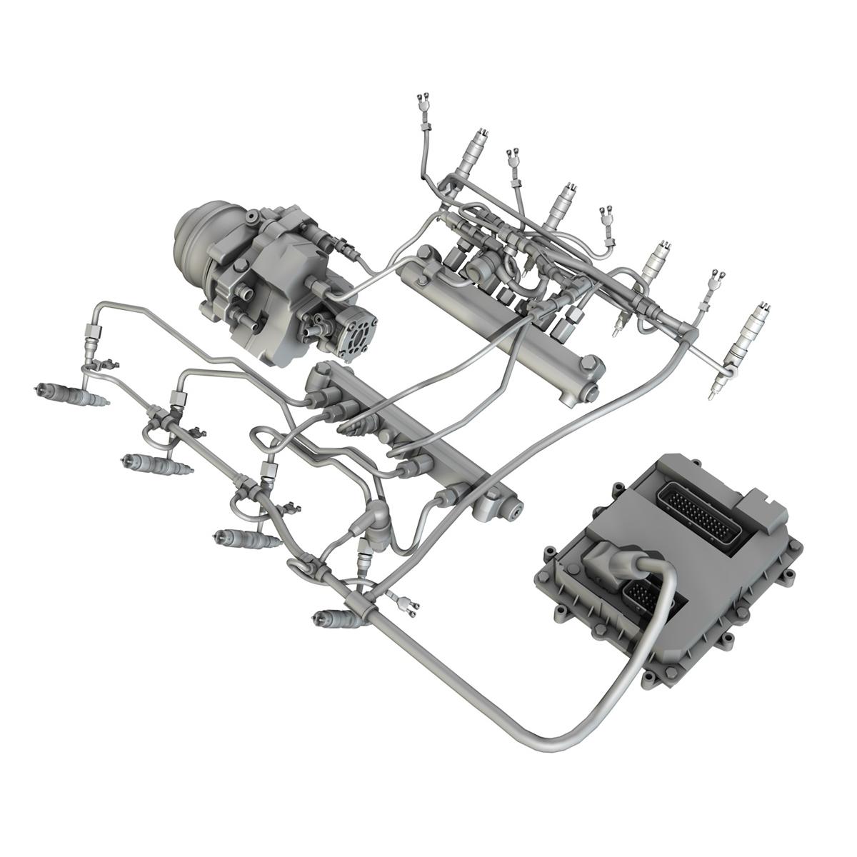 injection system of a v8 engine 3d model 3ds c4d lwo obj 264481