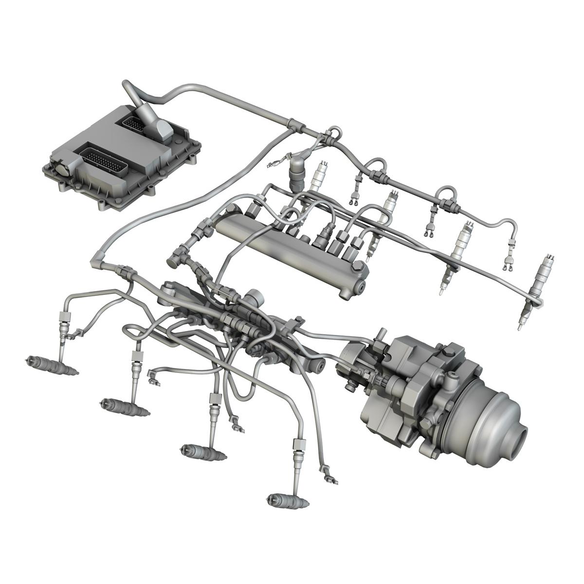injection system of a v8 engine 3d model 3ds c4d lwo obj 264482