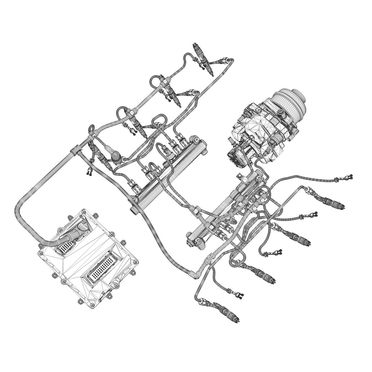 injection system of a v8 engine 3d model 3ds c4d lwo obj 264483