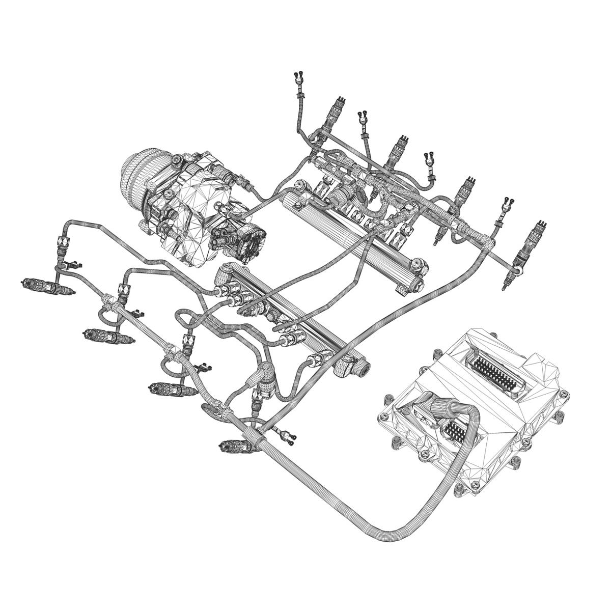 injection system of a v8 engine 3d model 3ds c4d lwo obj 264484