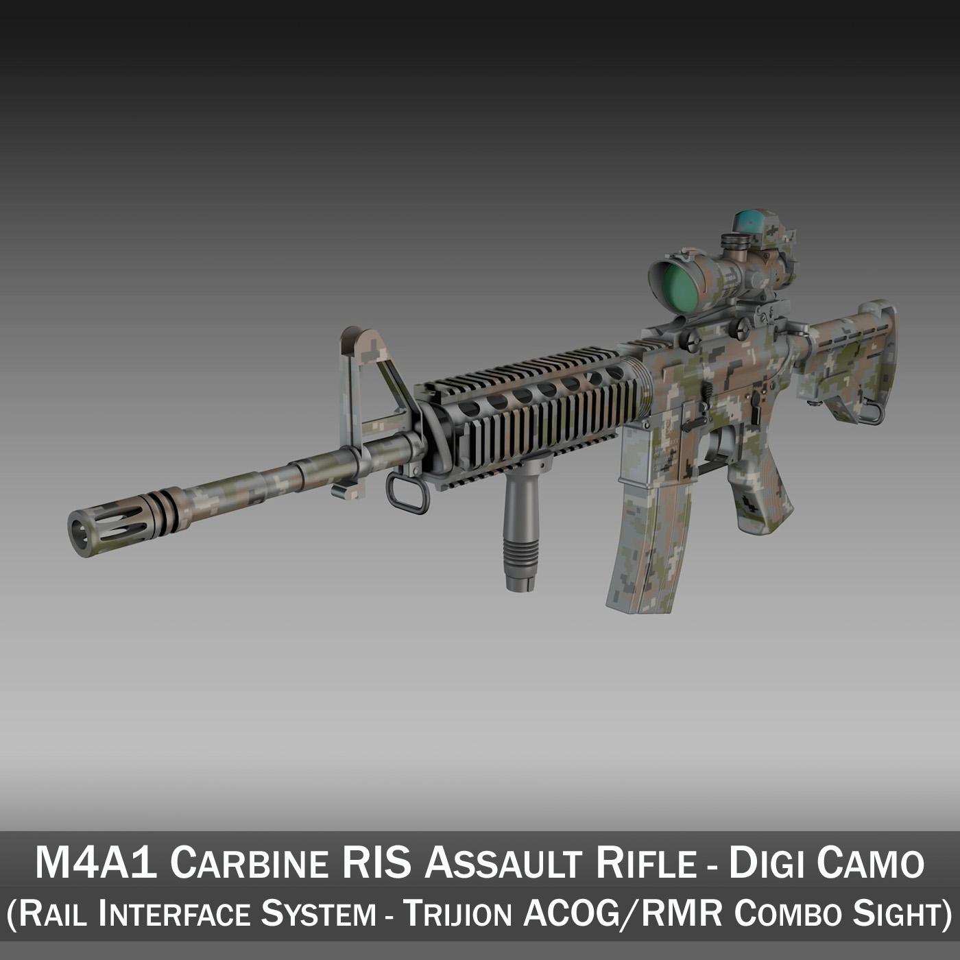 colt m4a1 sopmod acog camouflage 3d model 3ds c4d lwo obj 264543