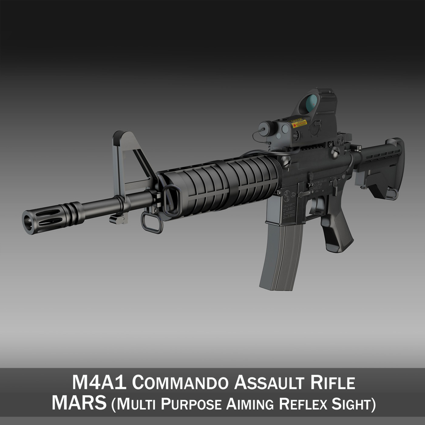 colt m4a1 commando mars 3d model 3ds c4d lwo obj 264593