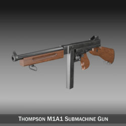 Thompson M1A1 Submachine Gun 3d model 0