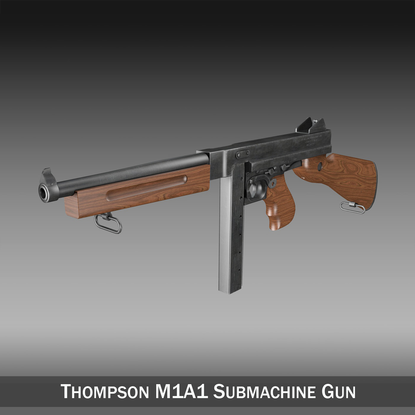 thompson m1a1 submachine gun 3d model 3ds c4d lwo obj 264609