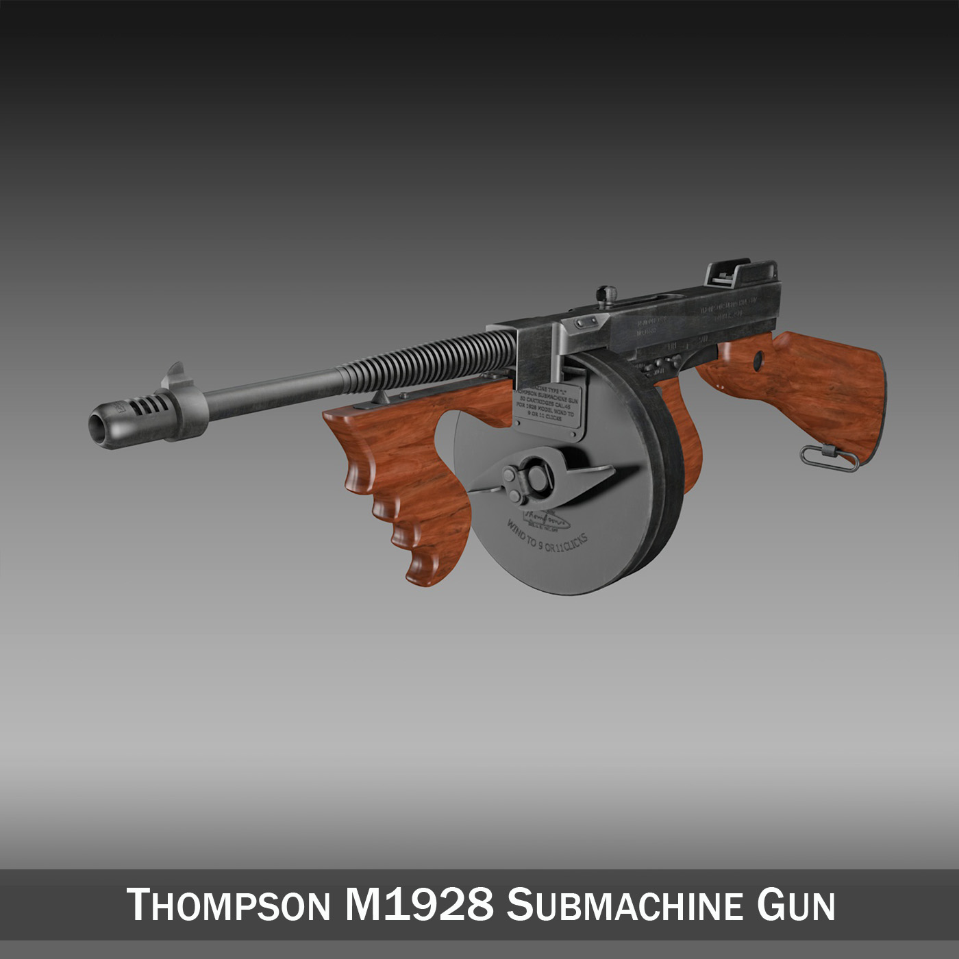 thompson model 1928 submachine gun 3d model 3ds c4d lwo obj 264684