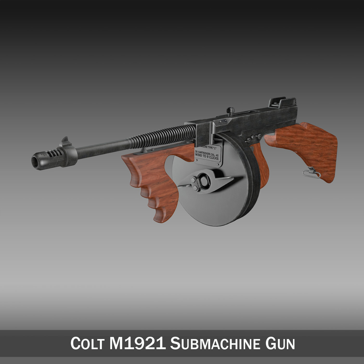 colt model1921 thompson submachine gun 3d model 3ds c4d lwo obj 264702