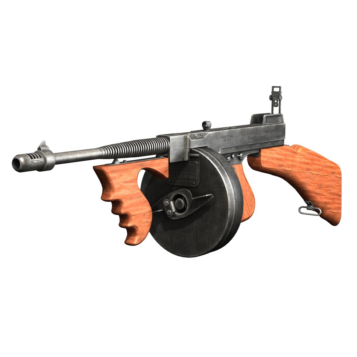 colt model1921 thompson submachine gun 3d model 3ds c4d lwo obj 264703