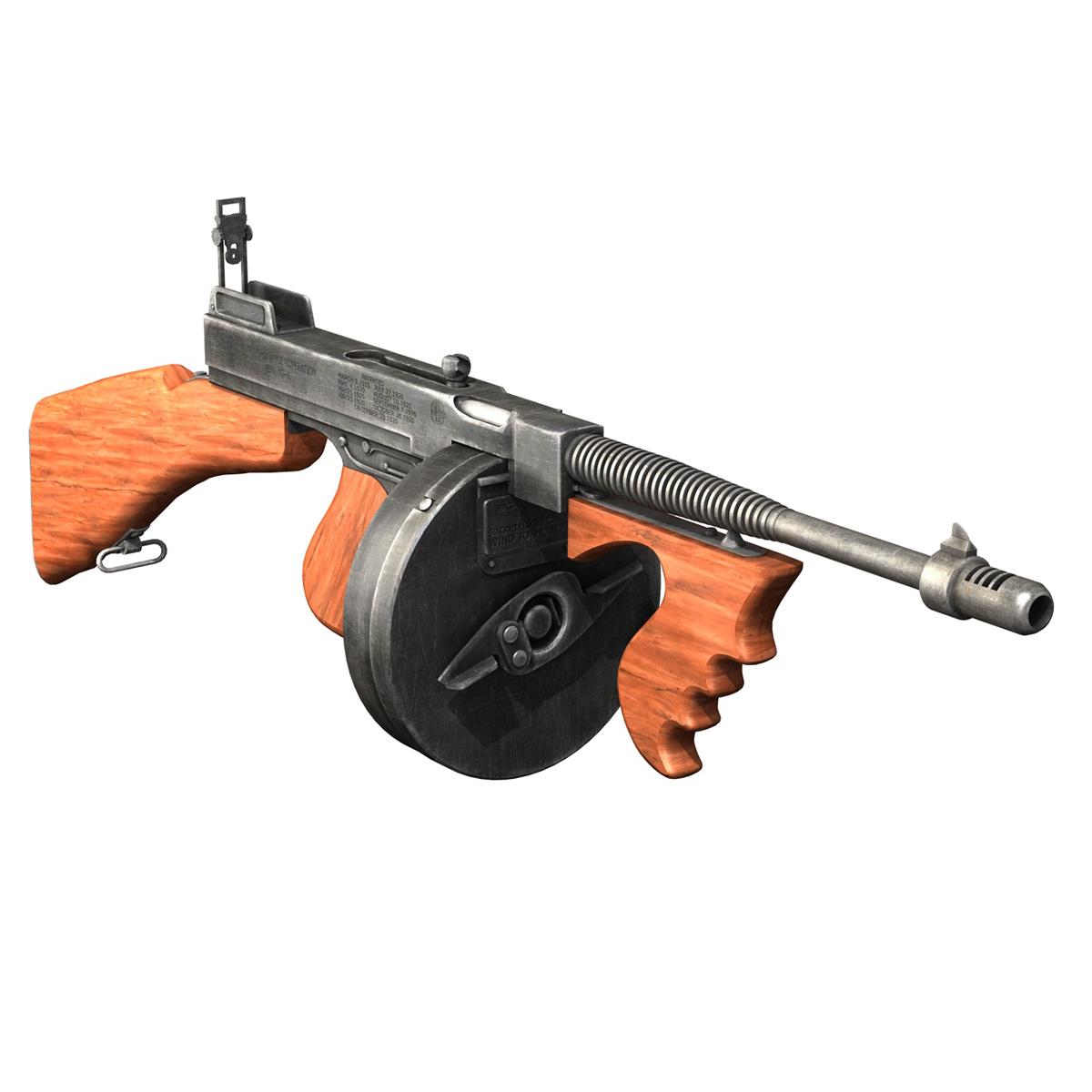 colt model1921 thompson submachine gun 3d model 3ds c4d lwo obj 264704