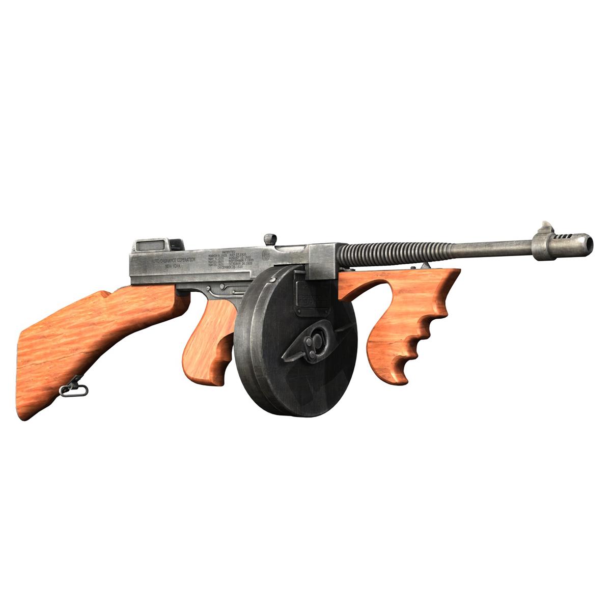 colt model1921 thompson submachine gun 3d model 3ds c4d lwo obj 264705