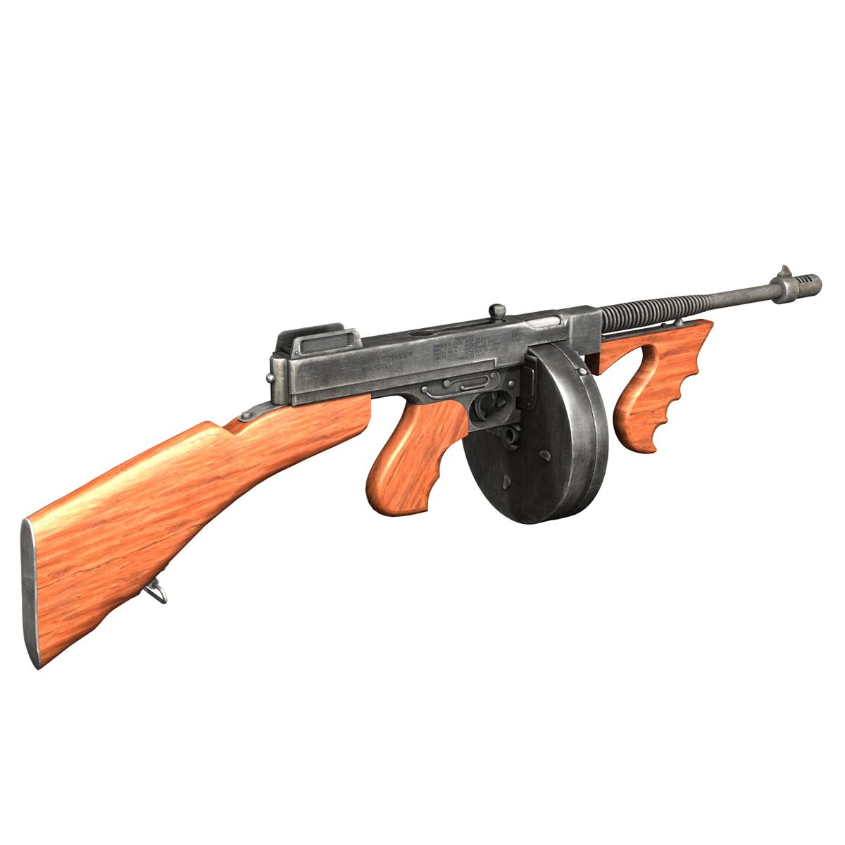 colt model1921 thompson submachine gun 3d model 3ds c4d lwo obj 264706