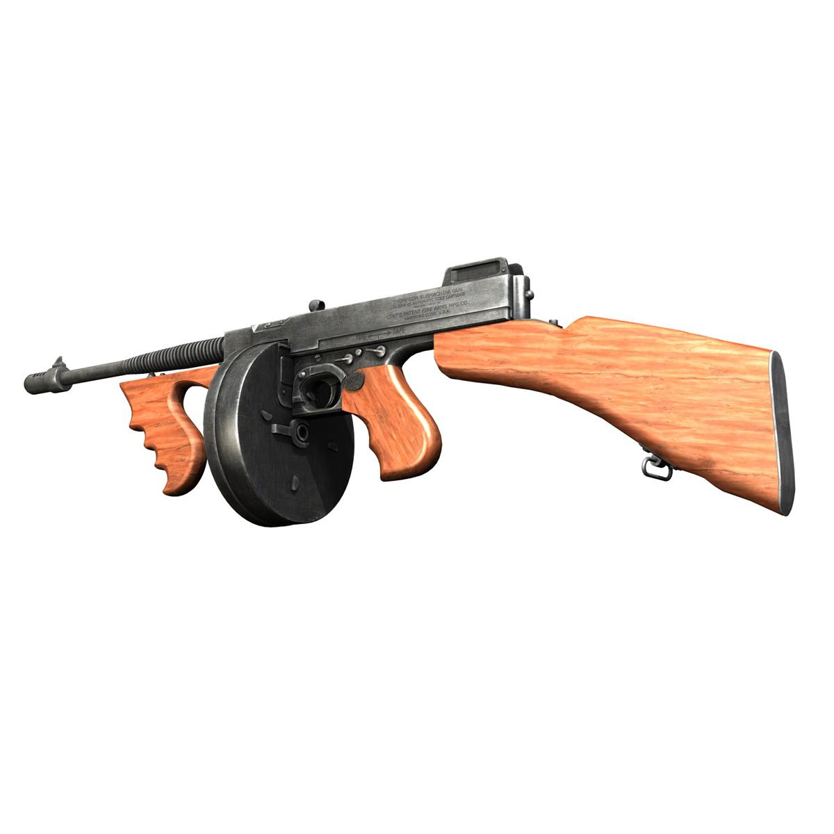 colt model1921 thompson submachine gun 3d model 3ds c4d lwo obj 264707