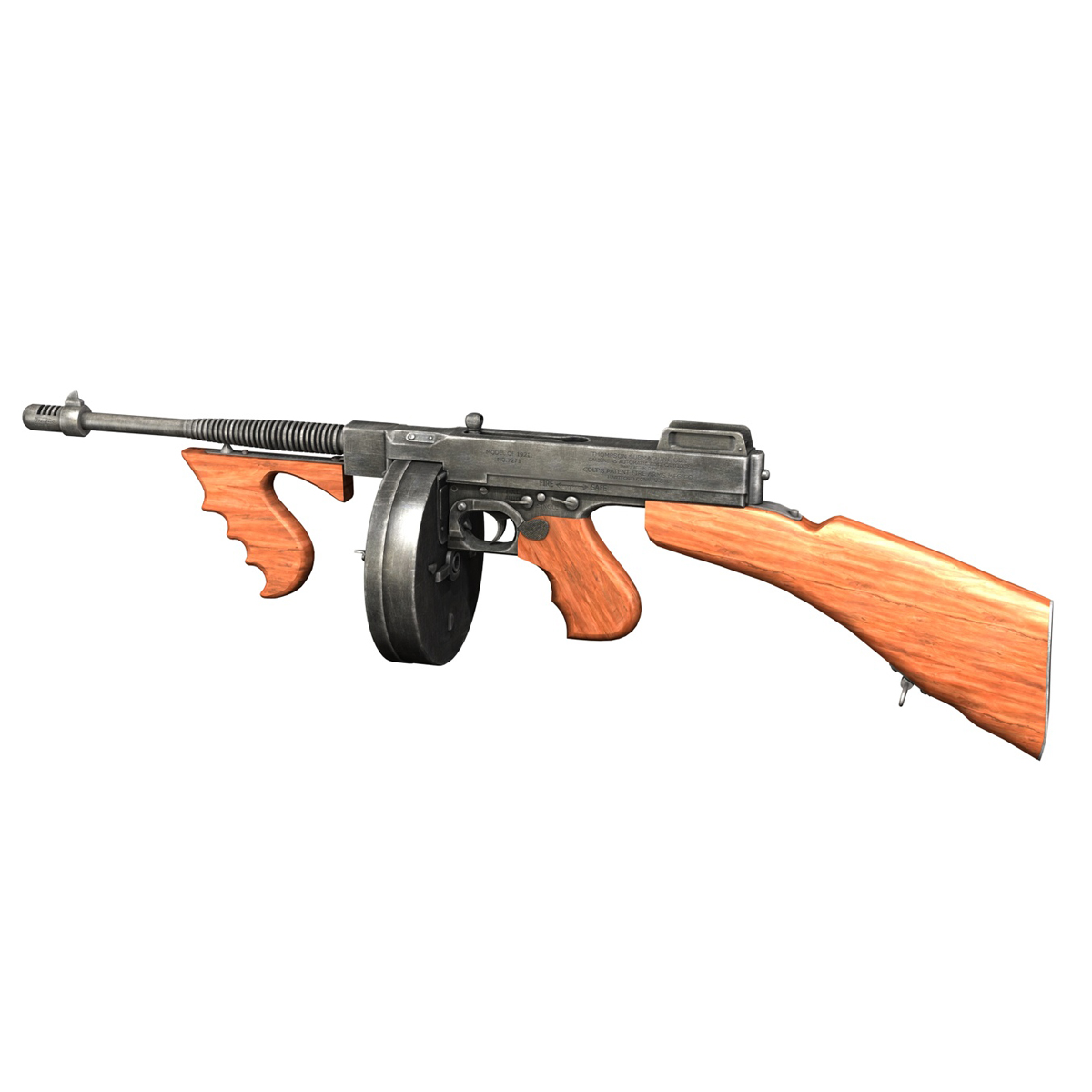 colt model1921 thompson submachine gun 3d model 3ds c4d lwo obj 264708