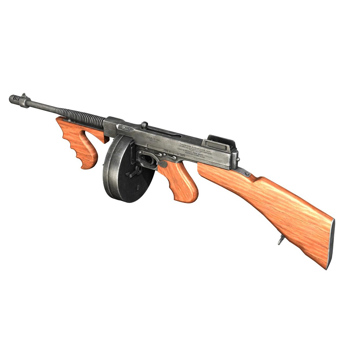 colt model1921 thompson submachine gun 3d model 3ds c4d lwo obj 264709