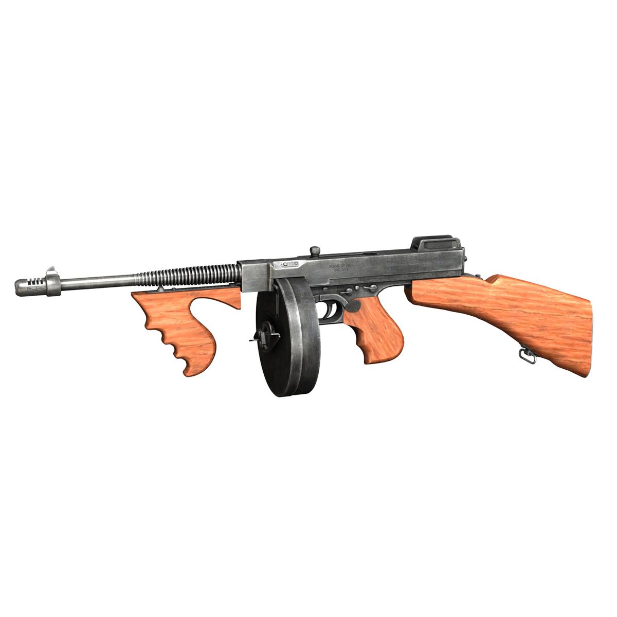 colt model1921 thompson submachine gun 3d model 3ds c4d lwo obj 264710