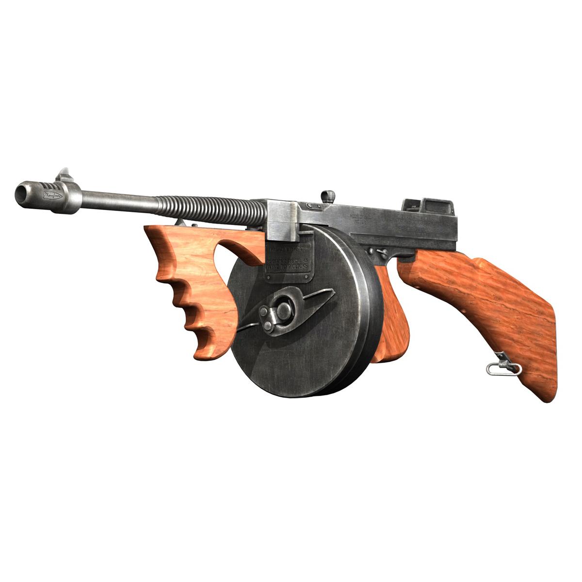 colt model1921 thompson submachine gun 3d model 3ds c4d lwo obj 264711
