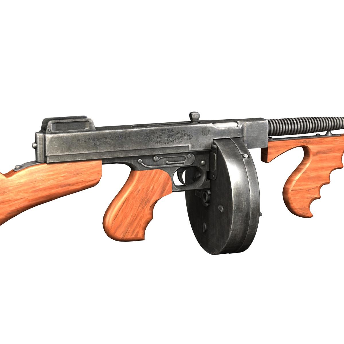 colt model1921 thompson submachine gun 3d model 3ds c4d lwo obj 264712