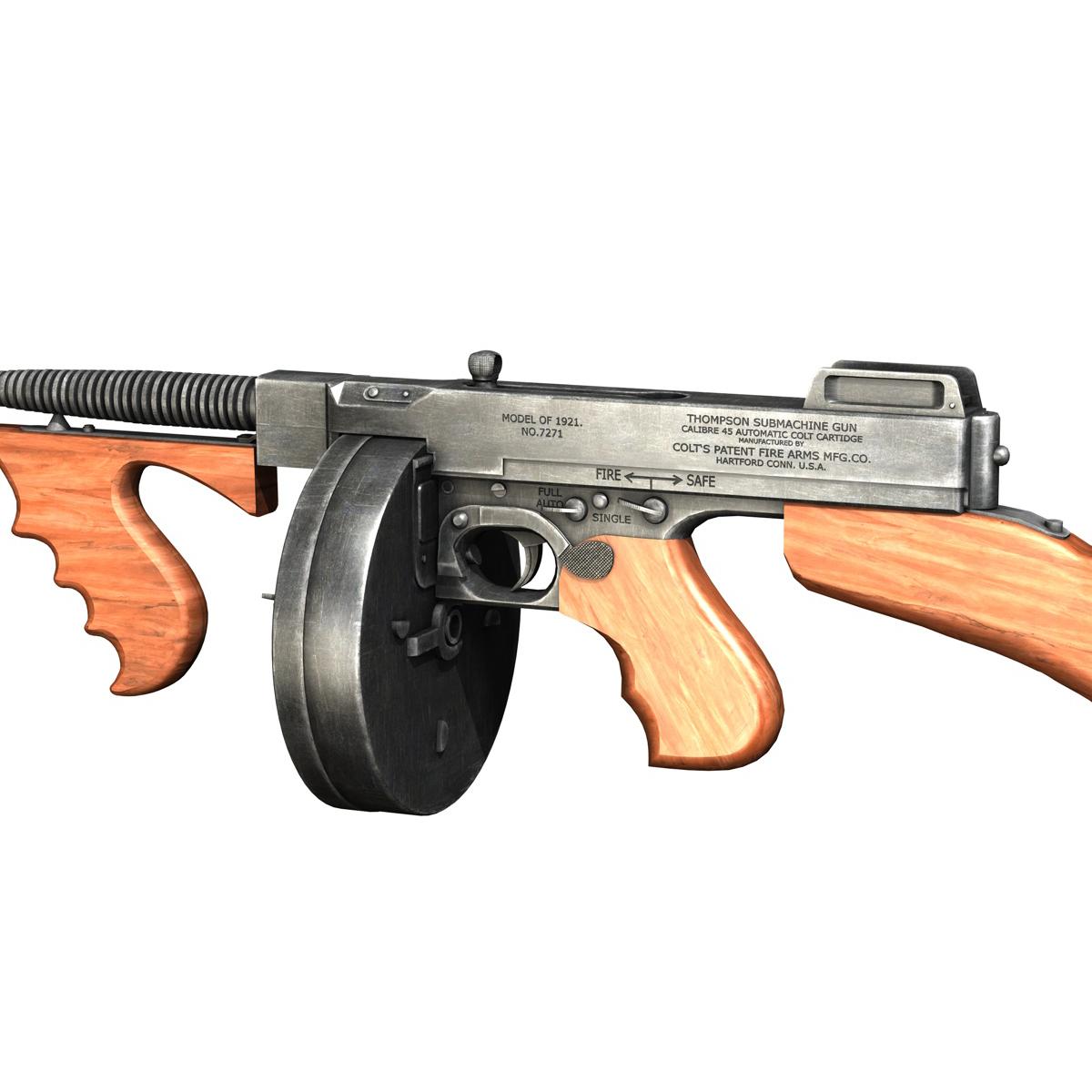 colt model1921 thompson submachine gun 3d model 3ds c4d lwo obj 264713
