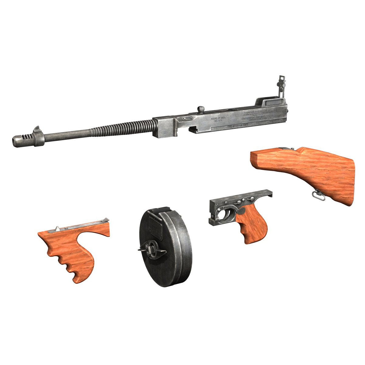 colt model1921 thompson submachine gun 3d model 3ds c4d lwo obj 264714