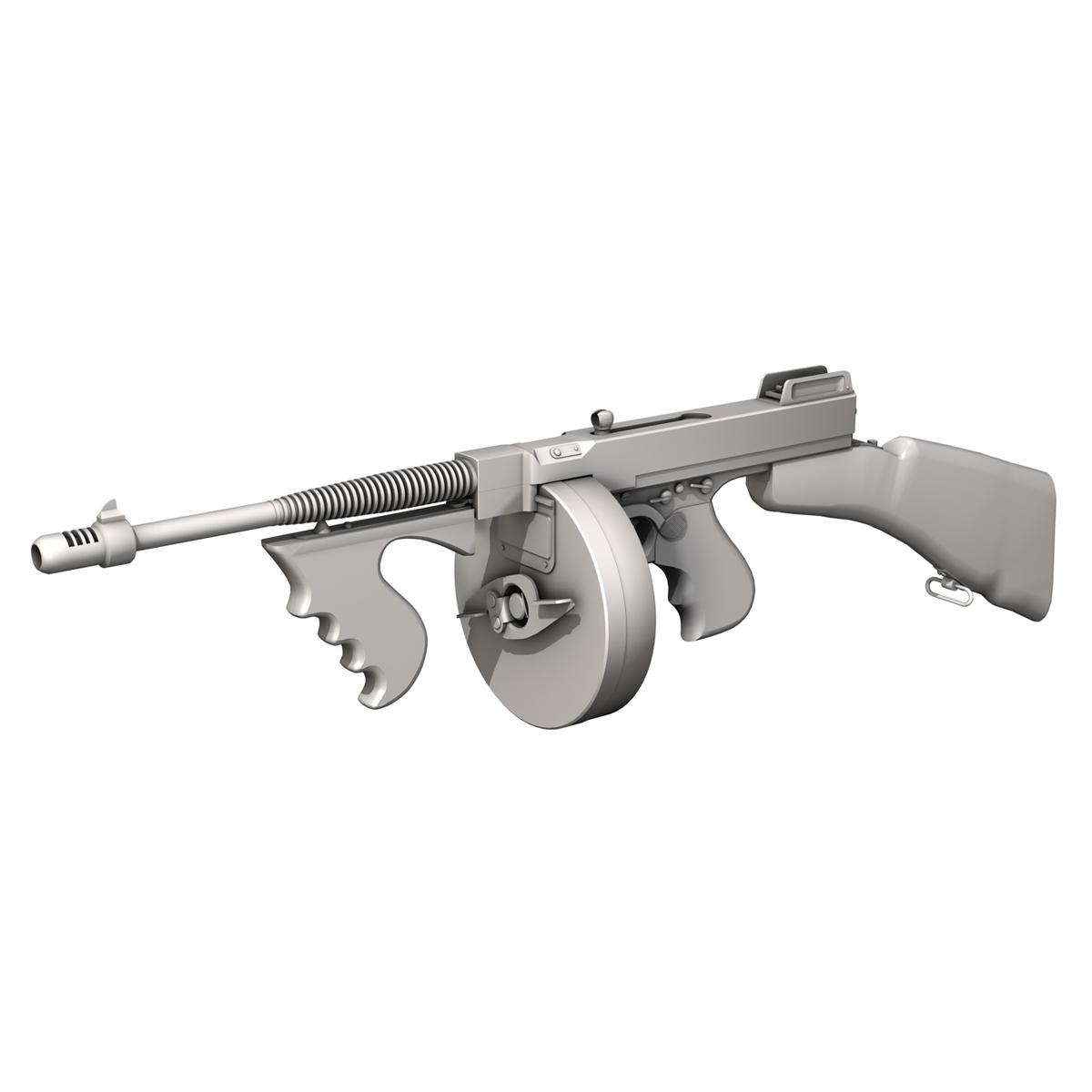 colt model1921 thompson submachine gun 3d model 3ds c4d lwo obj 264715