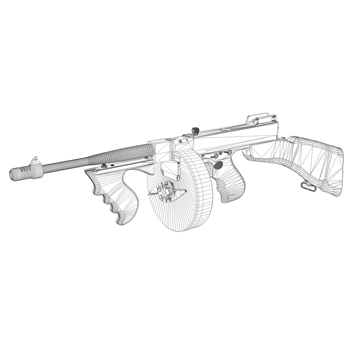 colt model1921 thompson submachine gun 3d model 3ds c4d lwo obj 264716