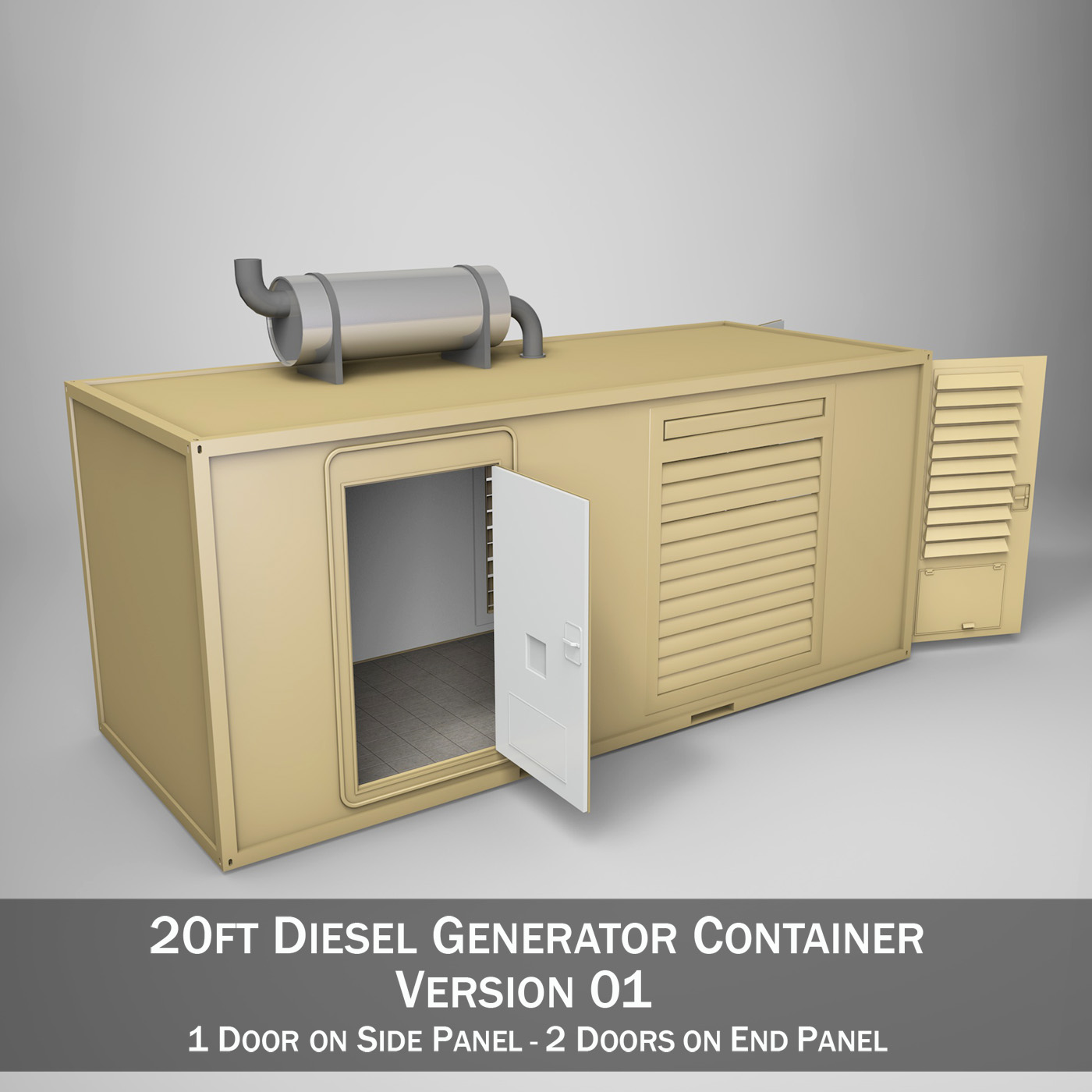 20ft generator container version 1 3d modelo 3ds c4d fbx lw lws obj 264722