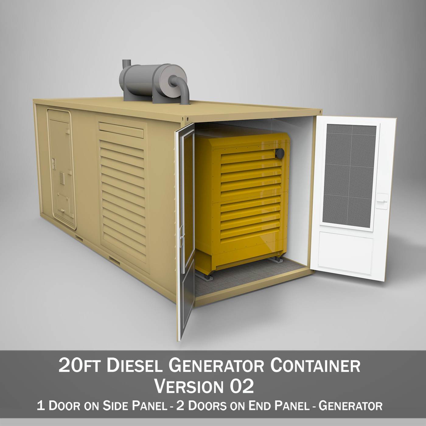 20ft Generator Container Version 2 3d Model Buy 20ft
