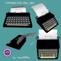 Typewriter_Old FBX OBJ 3d model high poly render ready fbx