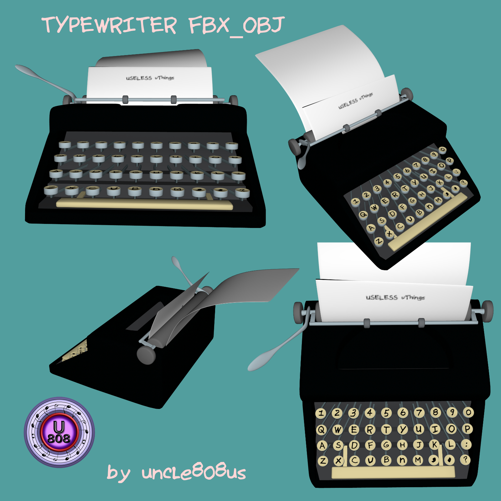typewriter_old fbx obj 3d model fbx 264970