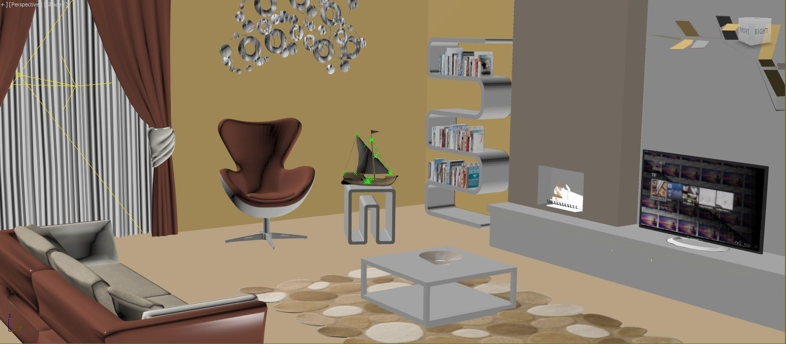 awesome black living room 3d model | Interior design living room 3D Model – Buy Interior design ...