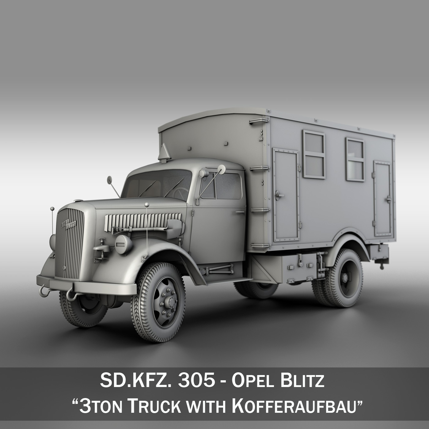 opel blitz – 3t truck with kofferaufbau 3d model c4d lwo obj 265068