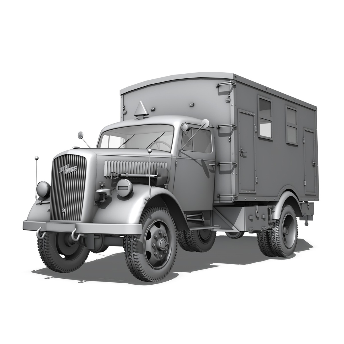 opel blitz - 3t kravas automašīna ar kofferaufbau 3d modelis c4d lwo obj 265069