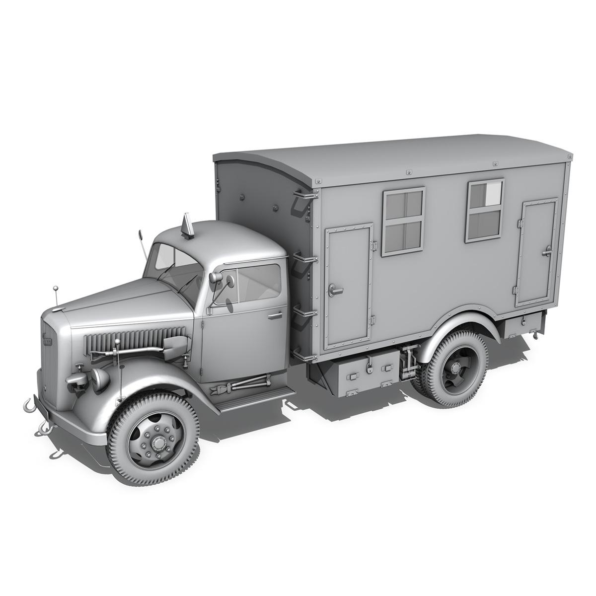opel blitz - 3t kravas automašīna ar kofferaufbau 3d modelis c4d lwo obj 265070