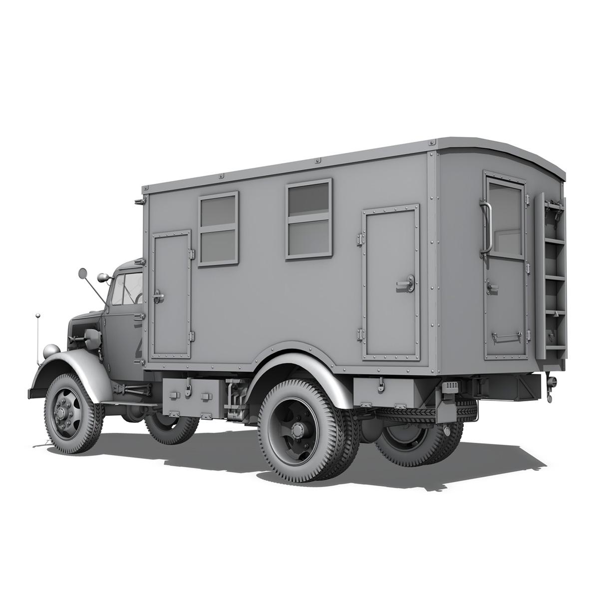 opel blitz - 3t kravas automašīna ar kofferaufbau 3d modelis c4d lwo obj 265071