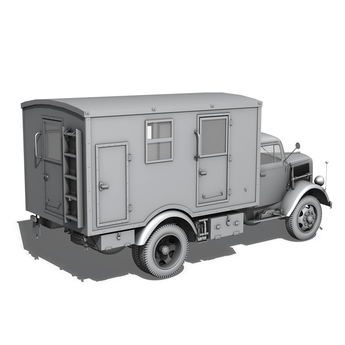 opel blitz - 3t kravas automašīna ar kofferaufbau 3d modelis c4d lwo obj 265072