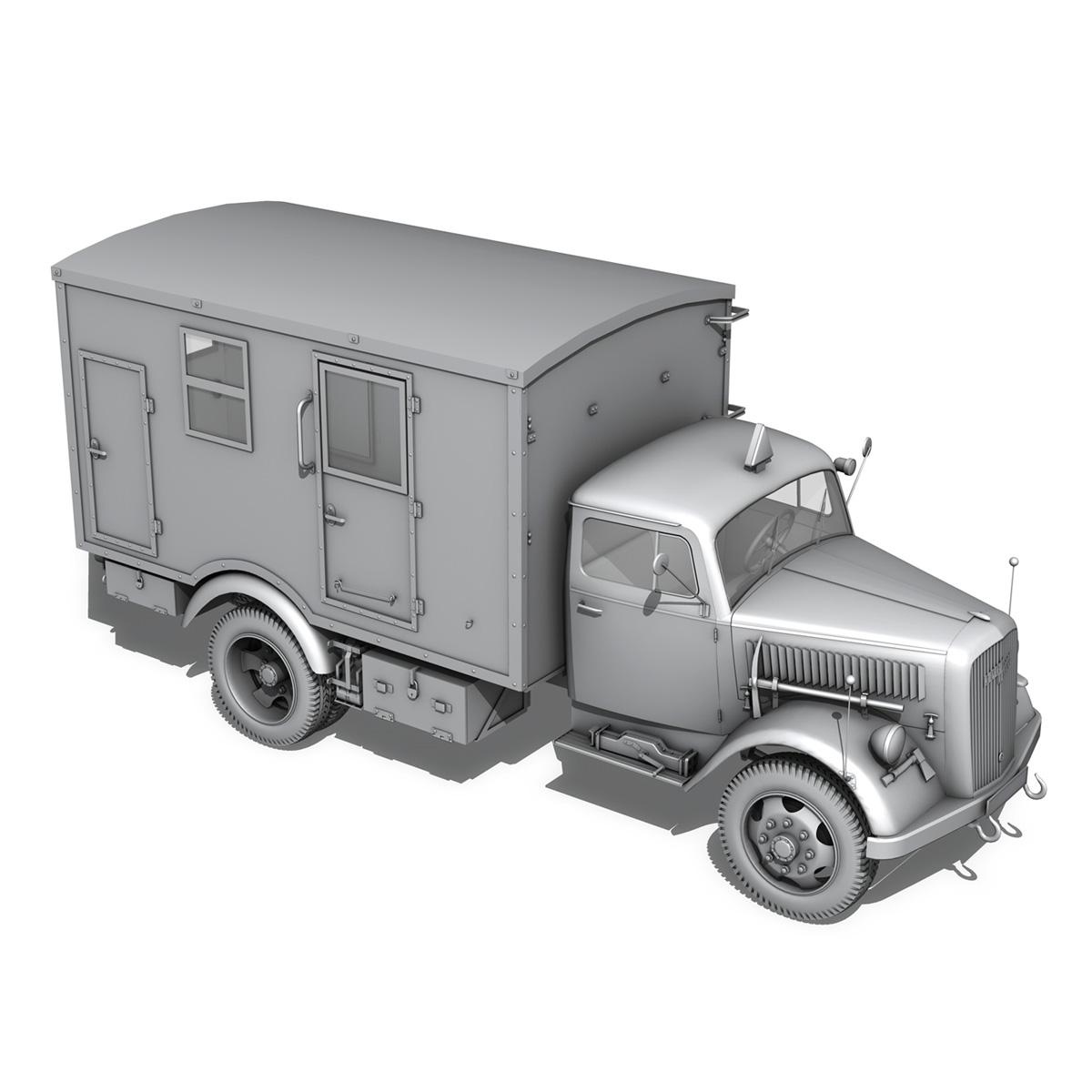 opel blitz - 3t kravas automašīna ar kofferaufbau 3d modelis c4d lwo obj 265073