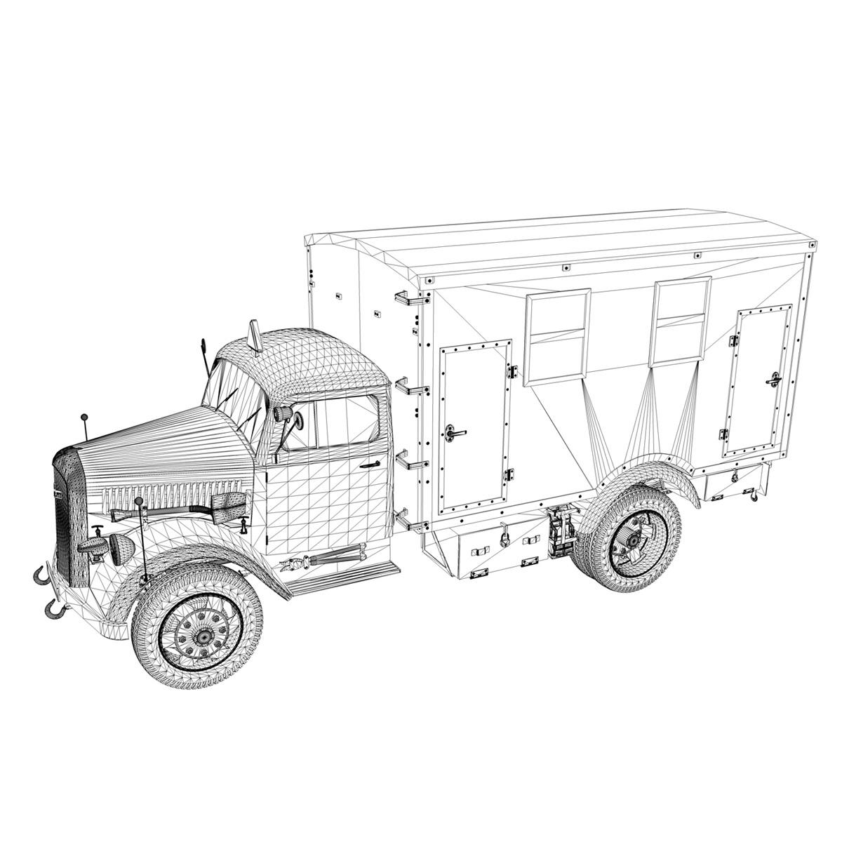 opel blitz - 3t kravas automašīna ar kofferaufbau 3d modelis c4d lwo obj 265076